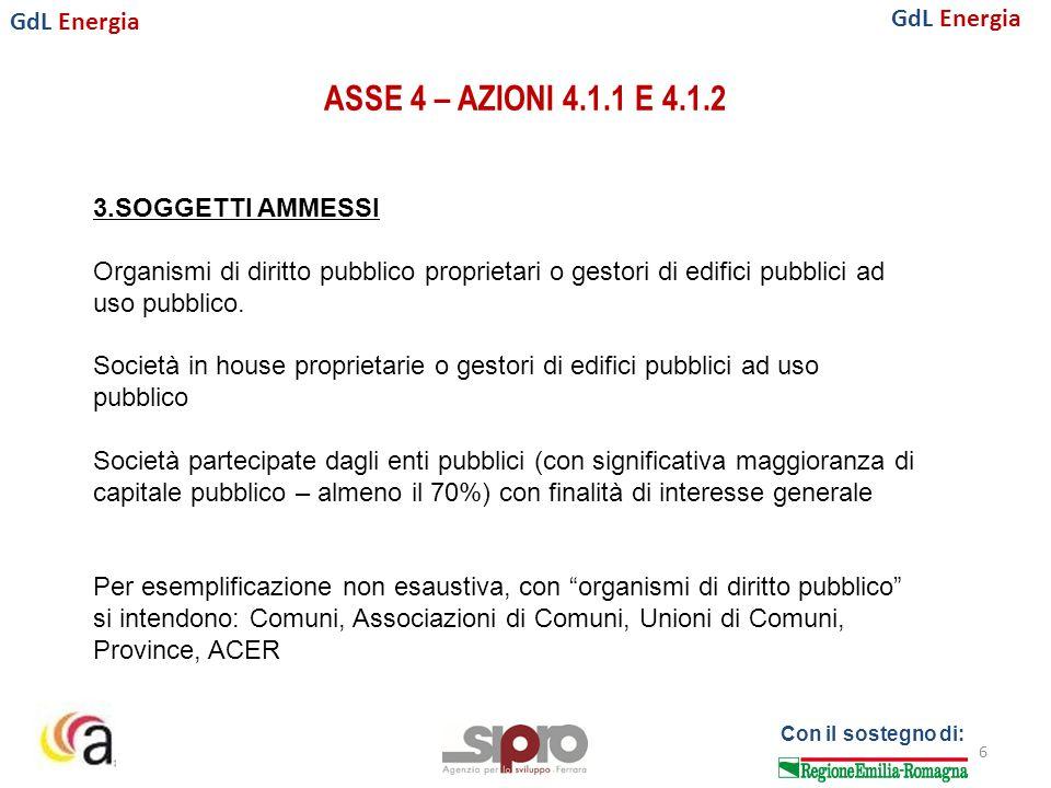 GdL Energia Con il sostegno di: ASSE 4 – AZIONI 4.1.1 E 4.1.2 17 8.MODALITA' DI ATTUAZIONE 8.2.2.Forme di PPP (3/3) I contributi Il Conto termico va alla ESCo Il FESR va al Comune Il processo di rendicontazione Il Comune allega: -certificato di regolare esecuzione lavori // collaudo per gli interventi di riqualificazione individuati nell'operazione selezionata -documenti contabili ricevuti dall'organismo selezionato tramite gara che individuano gli interventi realizzati per la riqualificazione (fatture distinte per tipologia di intervento, come da Conto Termico) -documenti contabili dell'organismo selezionato per la gestione degli interventi di riqualificazione (selezione dei fornitori, procedura di acquisizione di attrezzature, verifica, controlli e sopralluoghi, ecc) -documentazione fotografica pre e post a comprova dell'effettiva realizzazione della riqualificazione