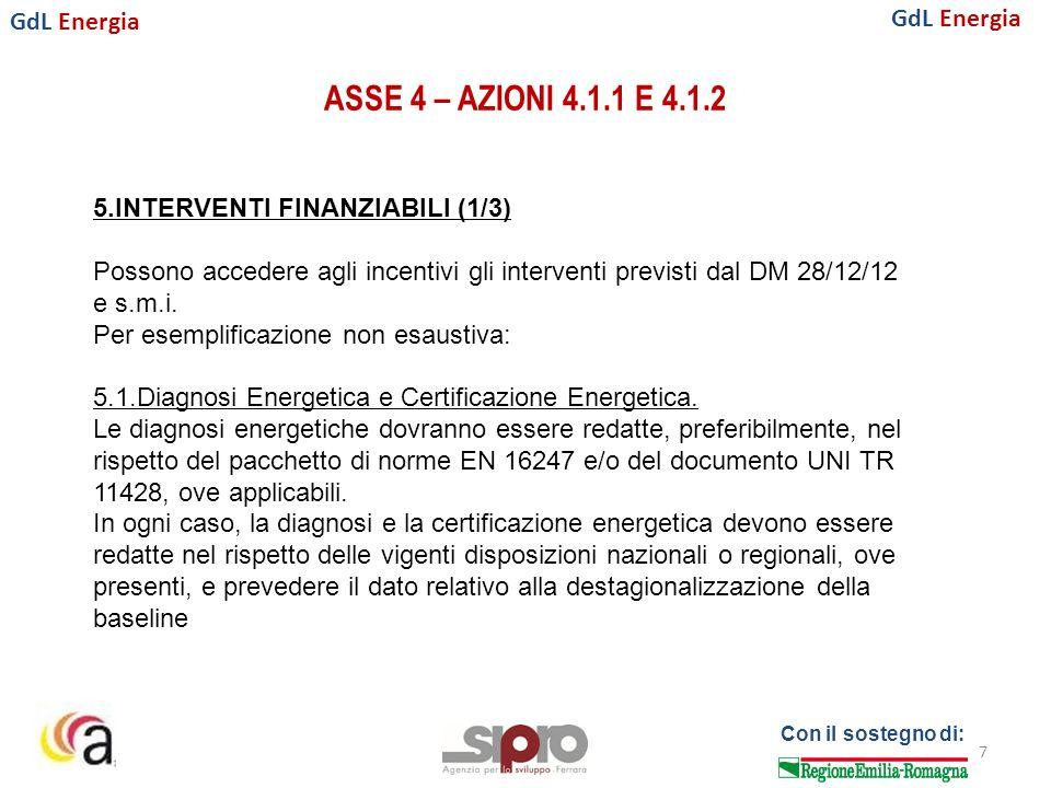 GdL Energia Con il sostegno di: ASSE 4 – AZIONI 4.1.1 E 4.1.2 7 5.INTERVENTI FINANZIABILI (1/3) Possono accedere agli incentivi gli interventi previsti dal DM 28/12/12 e s.m.i.