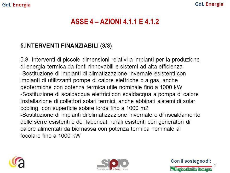 GdL Energia Con il sostegno di: ASSE 4 – AZIONI 4.1.1 E 4.1.2 9 5.INTERVENTI FINANZIABILI (3/3) 5.3.