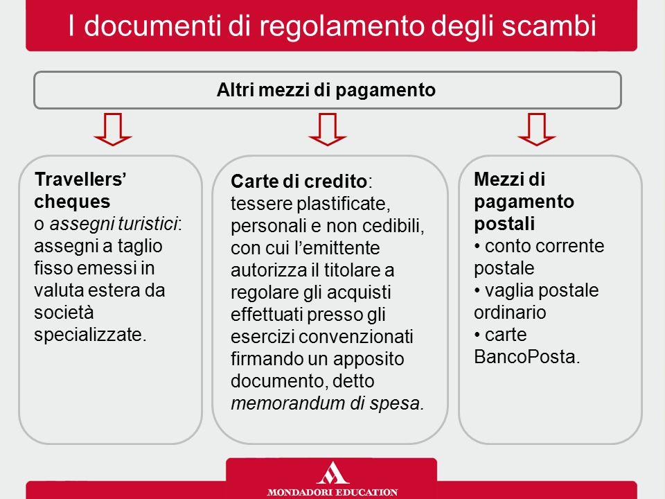 I documenti di regolamento degli scambi Altri mezzi di pagamento Travellers' cheques o assegni turistici: assegni a taglio fisso emessi in valuta estera da società specializzate.