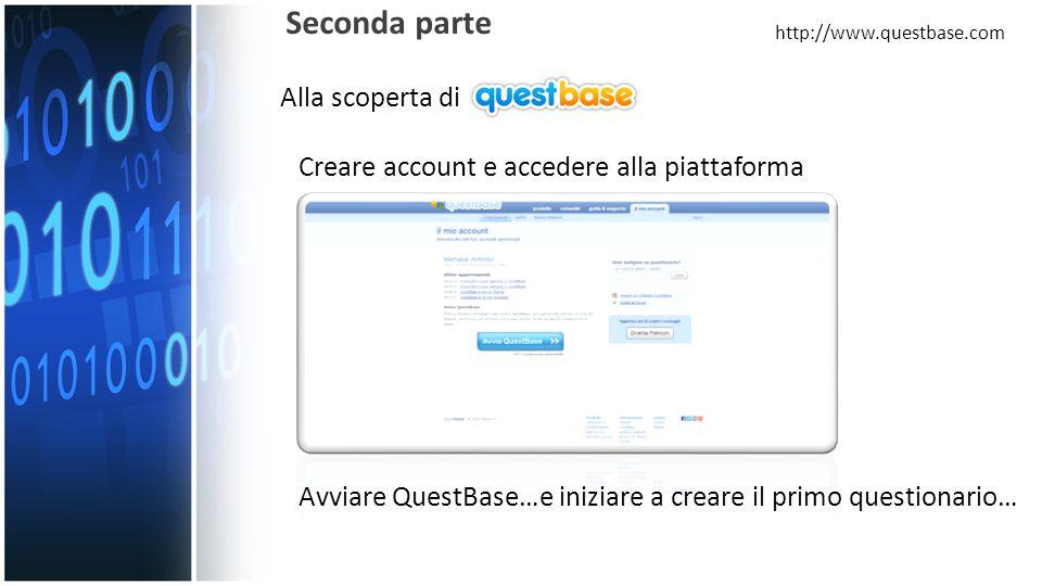 Alla scoperta di Seconda parte http://www.questbase.com Creare account e accedere alla piattaforma Avviare QuestBase…e iniziare a creare il primo questionario…