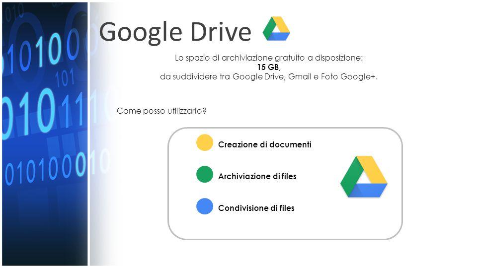 Google Drive Lo spazio di archiviazione gratuito a disposizione: 15 GB, da suddividere tra Google Drive, Gmail e Foto Google+.