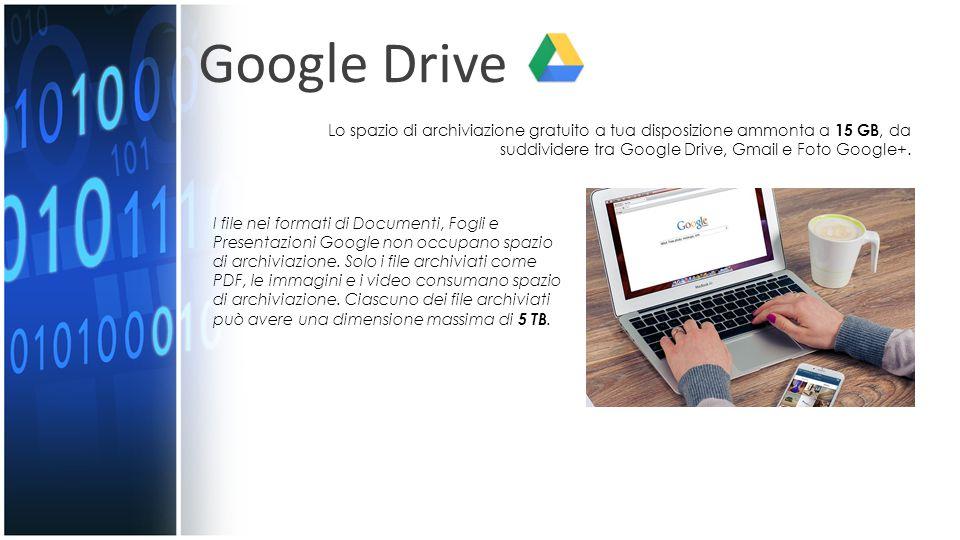 Google Drive I file nei formati di Documenti, Fogli e Presentazioni Google non occupano spazio di archiviazione.