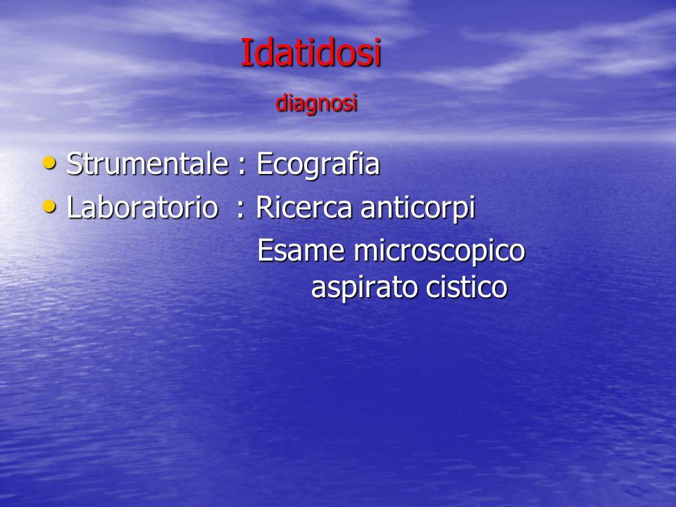 Idatidosi diagnosi Idatidosi diagnosi Strumentale : Ecografia Strumentale : Ecografia Laboratorio : Ricerca anticorpi Laboratorio : Ricerca anticorpi