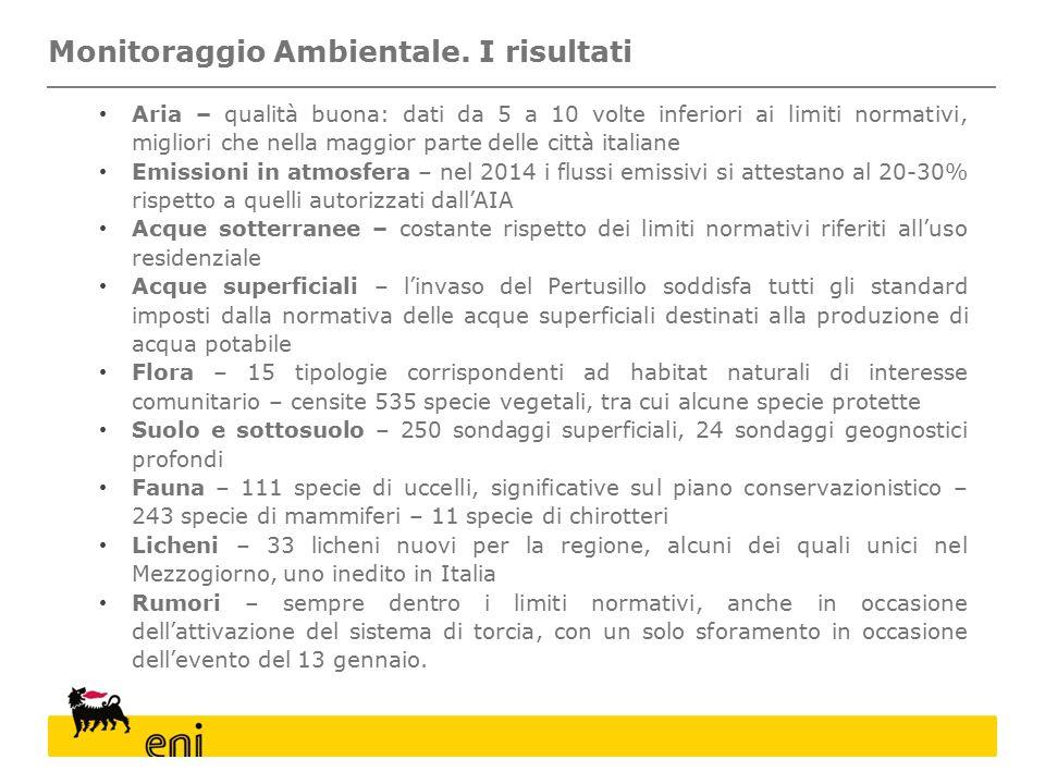 Aria – qualità buona: dati da 5 a 10 volte inferiori ai limiti normativi, migliori che nella maggior parte delle città italiane Emissioni in atmosfera