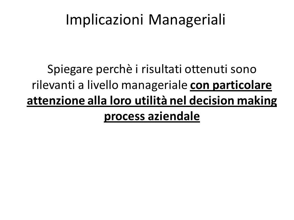 Implicazioni Manageriali Spiegare perchè i risultati ottenuti sono rilevanti a livello manageriale con particolare attenzione alla loro utilità nel de