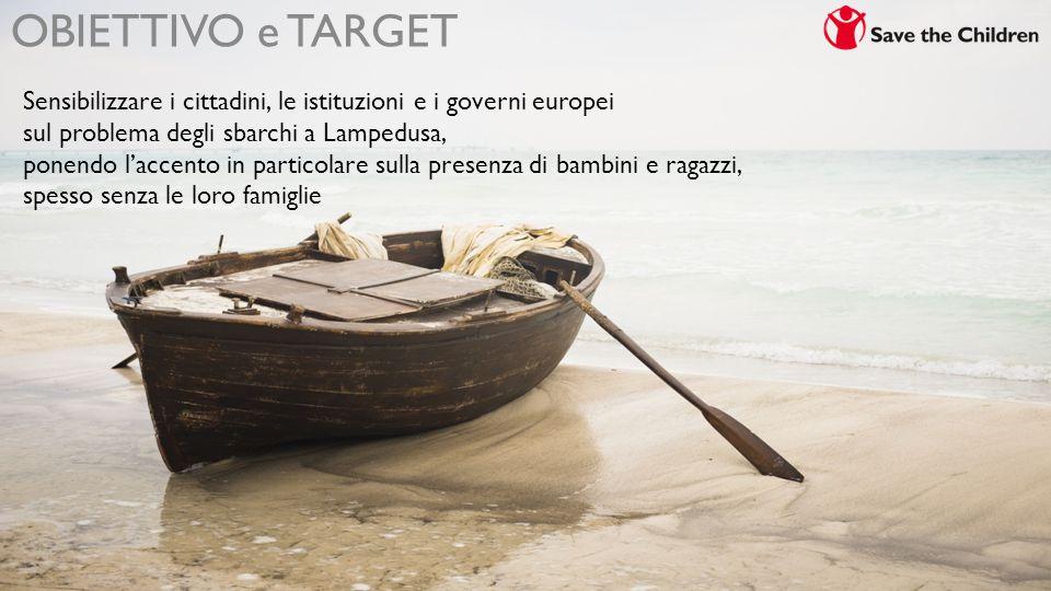 OBIETTIVO e TARGET Sensibilizzare i cittadini, le istituzioni e i governi europei sul problema degli sbarchi a Lampedusa, ponendo l'accento in particolare sulla presenza di bambini e ragazzi, spesso senza le loro famiglie
