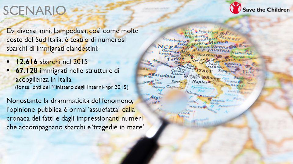 SCENARIO Da diversi anni, Lampedusa, così come molte coste del Sud Italia, è teatro di numerosi sbarchi di immigrati clandestini:  12.616 sbarchi nel