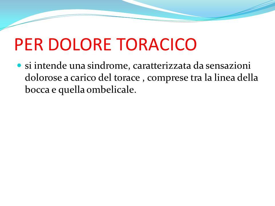 PER DOLORE TORACICO si intende una sindrome, caratterizzata da sensazioni dolorose a carico del torace, comprese tra la linea della bocca e quella omb