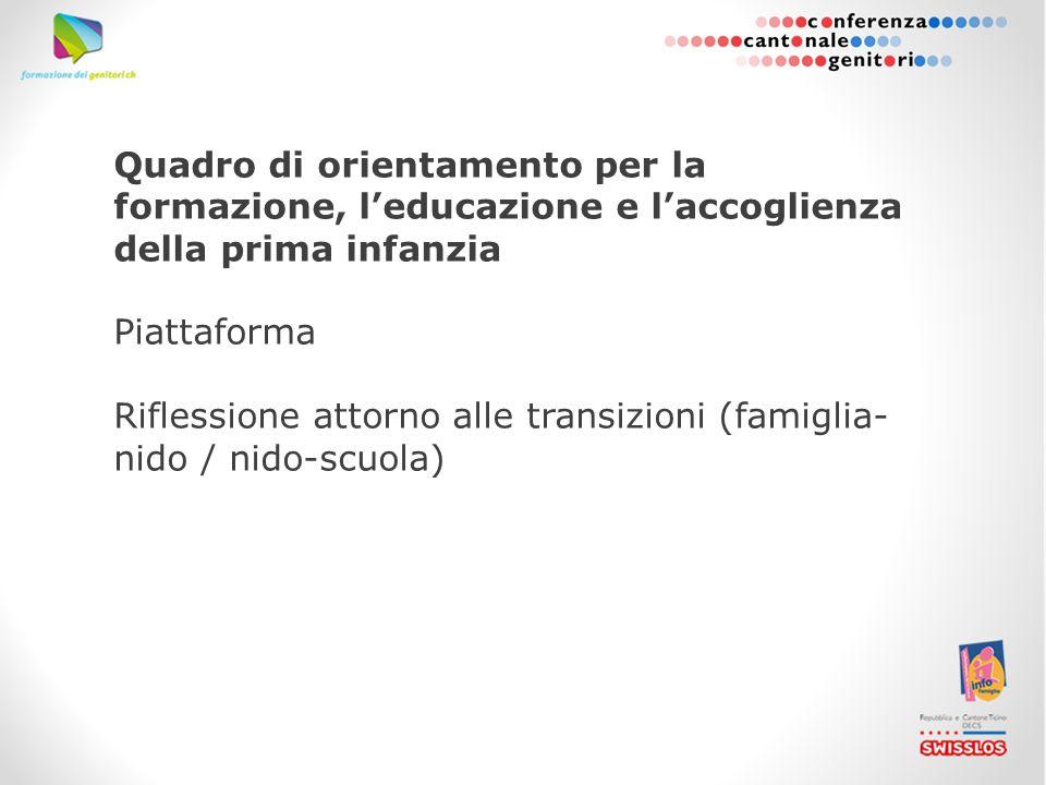 Quadro di orientamento per la formazione, l'educazione e l'accoglienza della prima infanzia Piattaforma Riflessione attorno alle transizioni (famiglia