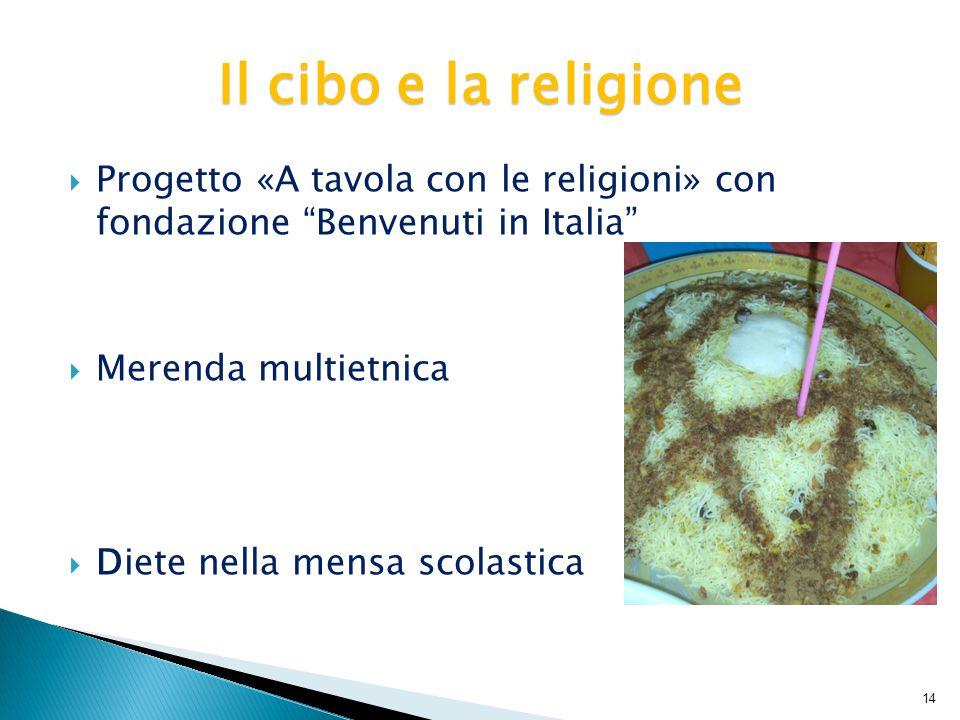  Progetto «A tavola con le religioni» con fondazione Benvenuti in Italia  Merenda multietnica  Diete nella mensa scolastica Il cibo e la religione 14