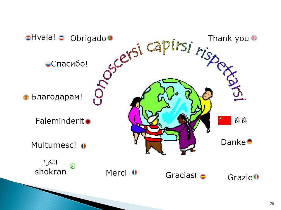 Grazie Merci Gracias ! Danke Thank youObrigado Mulţumesc! شكراً! shokran Faleminderit Hvala! Благодарам! Спасибо! 谢谢 20