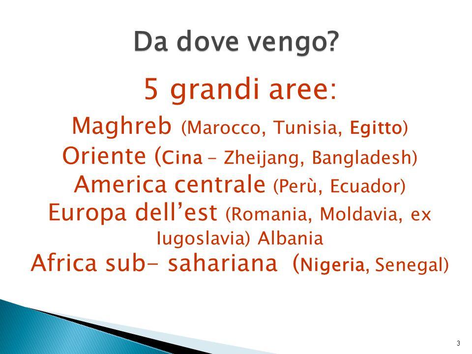 3 Da dove vengo? 5 grandi aree: Maghreb (Marocco, Tunisia, Egitto) Oriente ( Cina - Zheijang, Bangladesh) America centrale (Perù, Ecuador) Europa dell
