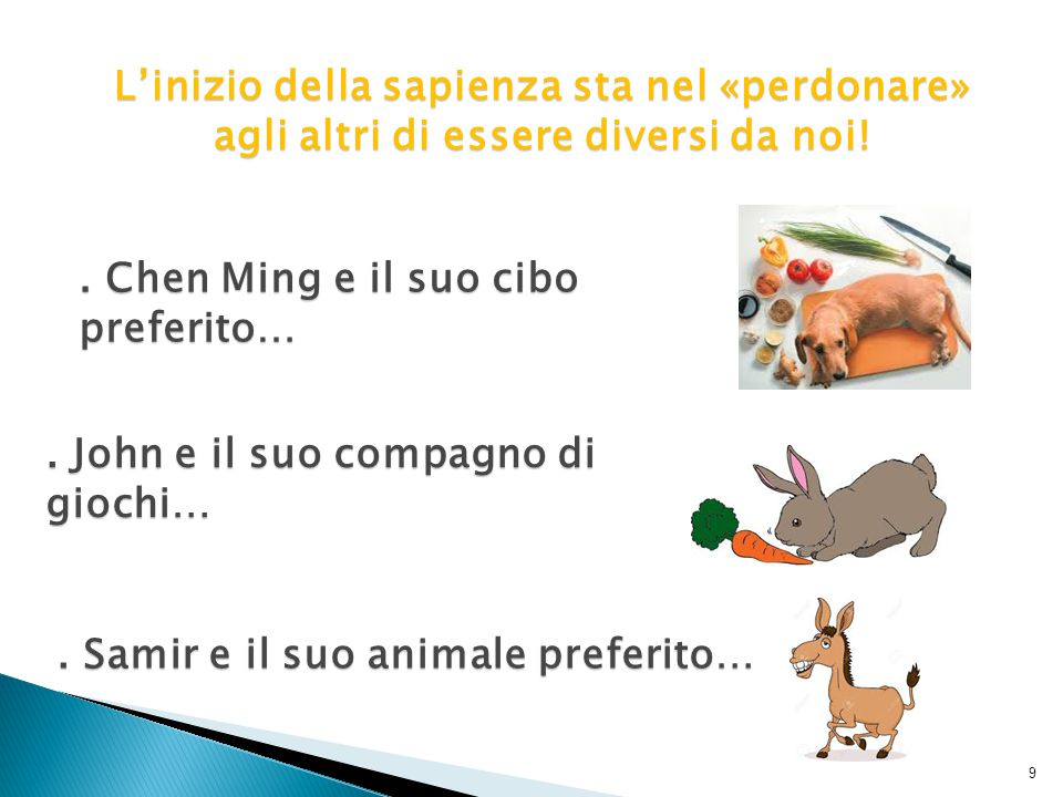 . Samir e il suo animale preferito… 9. Chen Ming e il suo cibo preferito…. John e il suo compagno di giochi… L'inizio della sapienza sta nel «perdonar