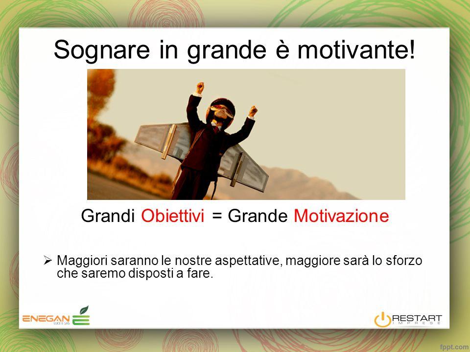Sognare in grande è motivante! Grandi Obiettivi = Grande Motivazione  Maggiori saranno le nostre aspettative, maggiore sarà lo sforzo che saremo disp