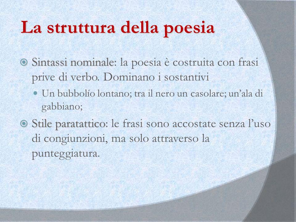 La struttura della poesia  Sintassi nominale  Sintassi nominale: la poesia è costruita con frasi prive di verbo. Dominano i sostantivi Un bubbolío l