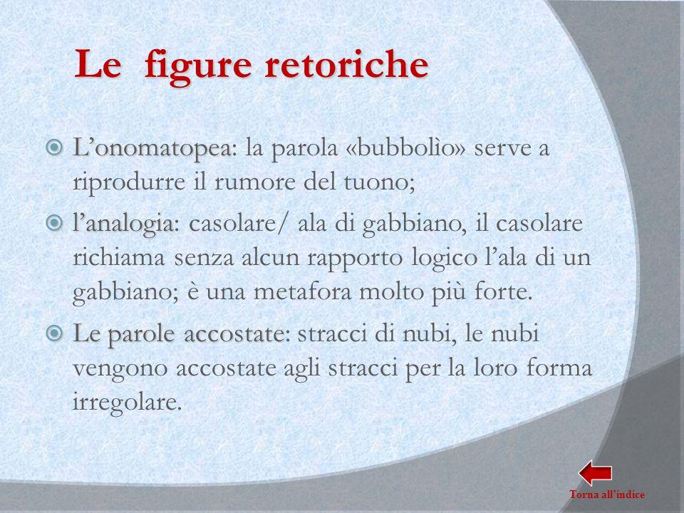 Le figure retoriche  L'onomatopea  L'onomatopea: la parola «bubbolìo» serve a riprodurre il rumore del tuono;  l'analogia  l'analogia: casolare/ a
