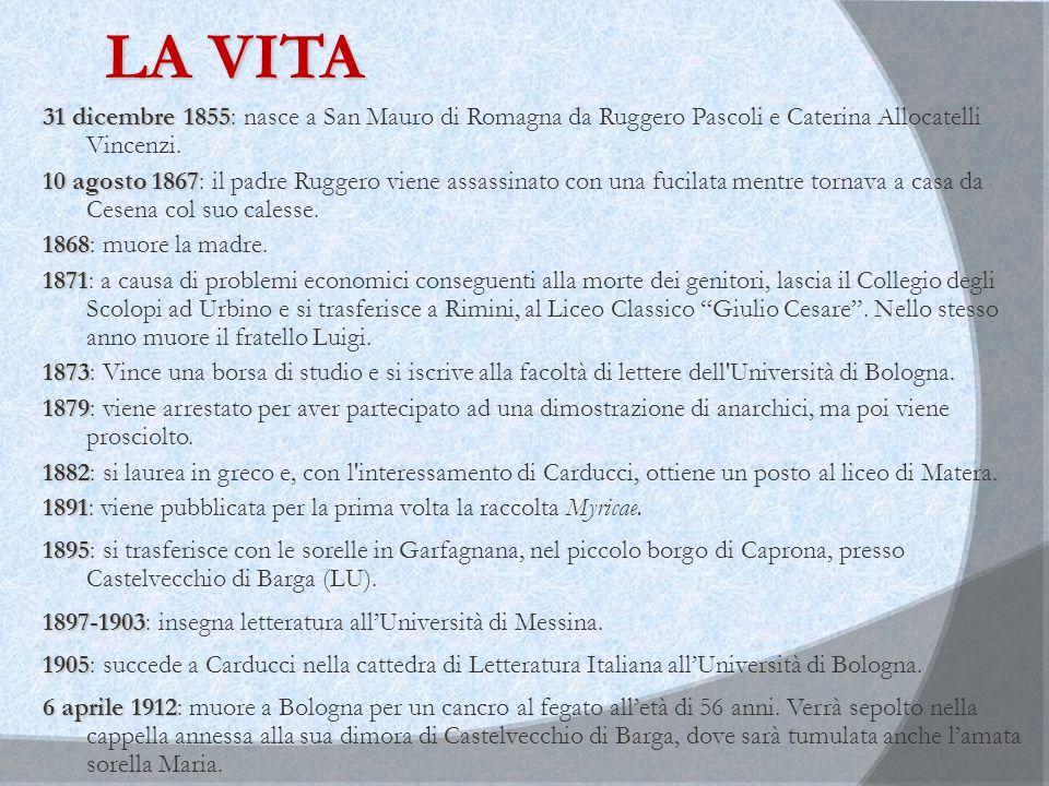 LA VITA 31 dicembre 1855 31 dicembre 1855: nasce a San Mauro di Romagna da Ruggero Pascoli e Caterina Allocatelli Vincenzi. 10 agosto 1867 10 agosto 1