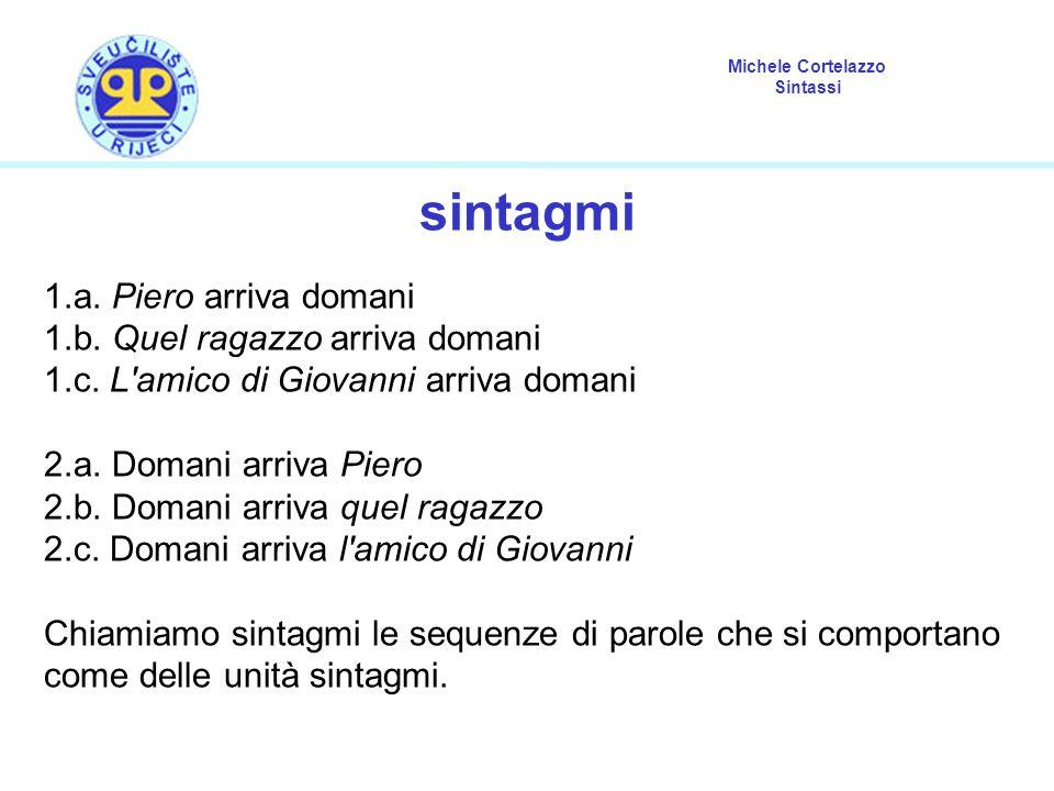Michele Cortelazzo Sintassi sintagmi 1.a. Piero arriva domani 1.b. Quel ragazzo arriva domani 1.c. L'amico di Giovanni arriva domani 2.a. Domani arriv