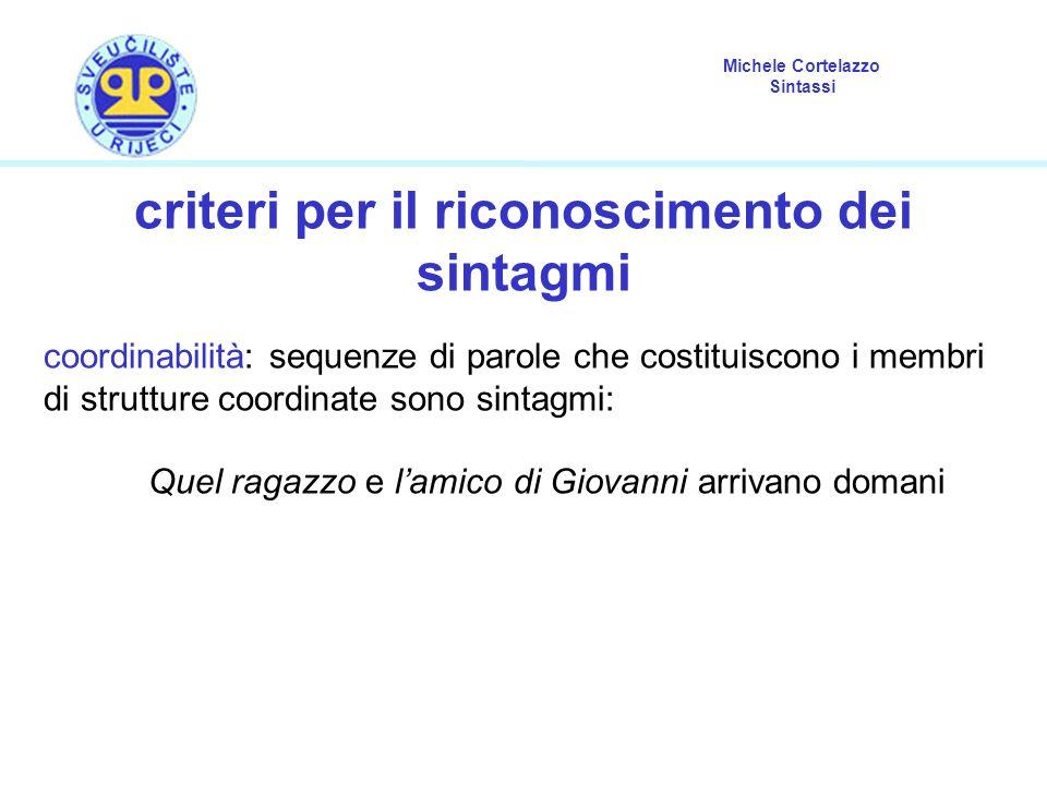 Michele Cortelazzo Sintassi criteri per il riconoscimento dei sintagmi coordinabilità: sequenze di parole che costituiscono i membri di strutture coor