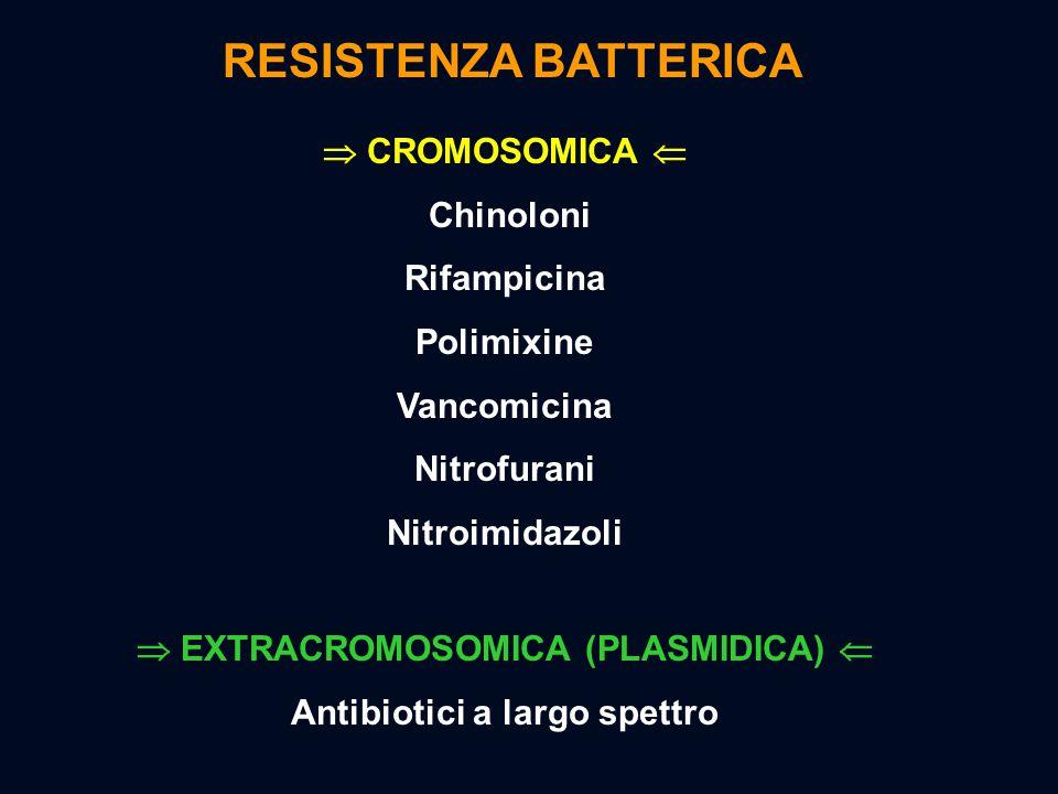  CROMOSOMICA  Chinoloni Rifampicina Polimixine Vancomicina Nitrofurani Nitroimidazoli  EXTRACROMOSOMICA (PLASMIDICA)  Antibiotici a largo spettro