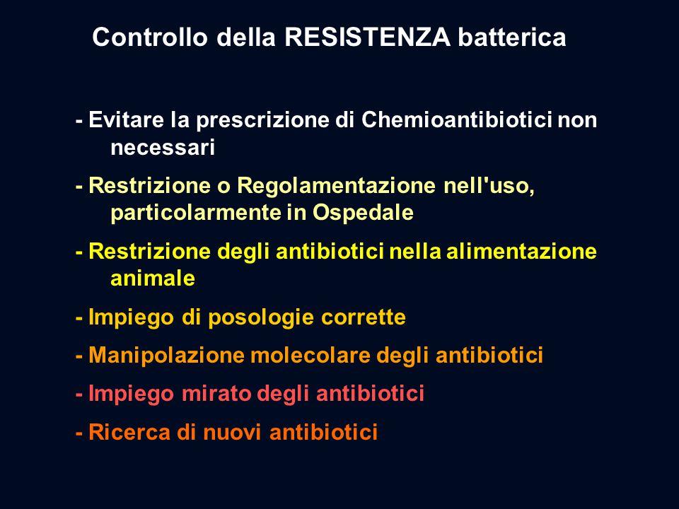 - Evitare la prescrizione di Chemioantibiotici non necessari - Restrizione o Regolamentazione nell'uso, particolarmente in Ospedale - Restrizione degl