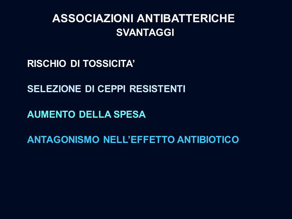 ASSOCIAZIONI ANTIBATTERICHE SVANTAGGI RISCHIO DI TOSSICITA' SELEZIONE DI CEPPI RESISTENTI AUMENTO DELLA SPESA ANTAGONISMO NELL'EFFETTO ANTIBIOTICO