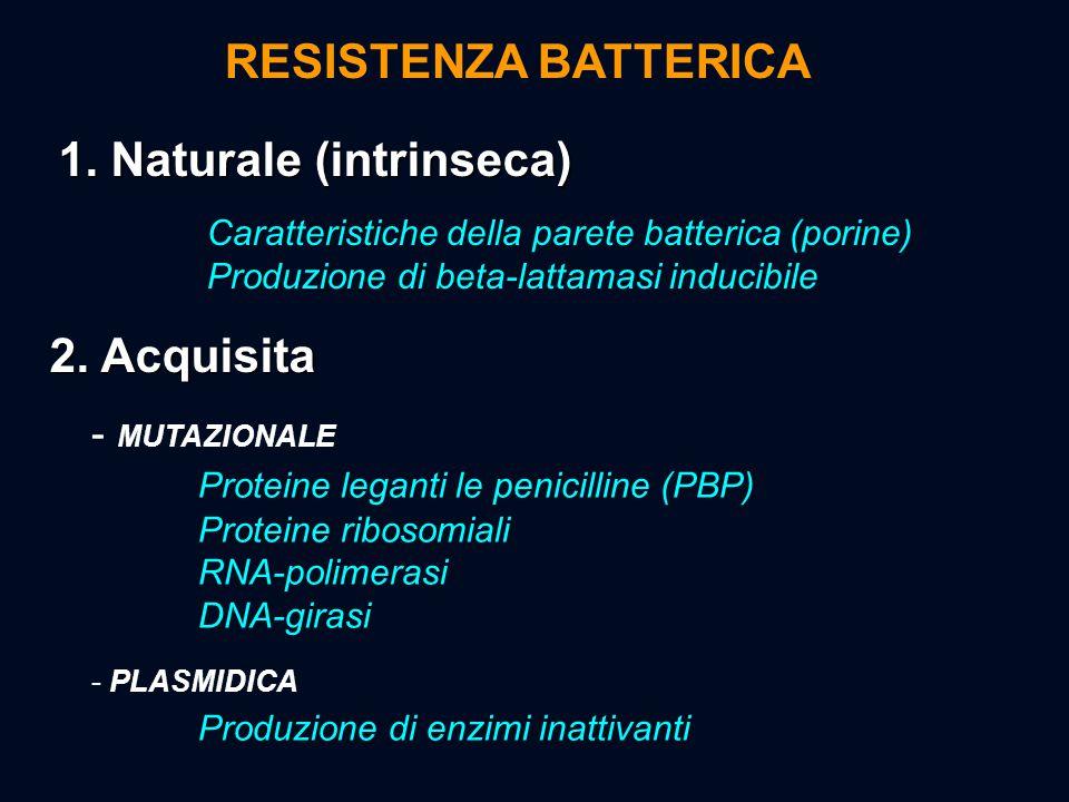 1. Naturale (intrinseca) Caratteristiche della parete batterica (porine) Produzione di beta-lattamasi inducibile 2. Acquisita - MUTAZIONALE Proteine l