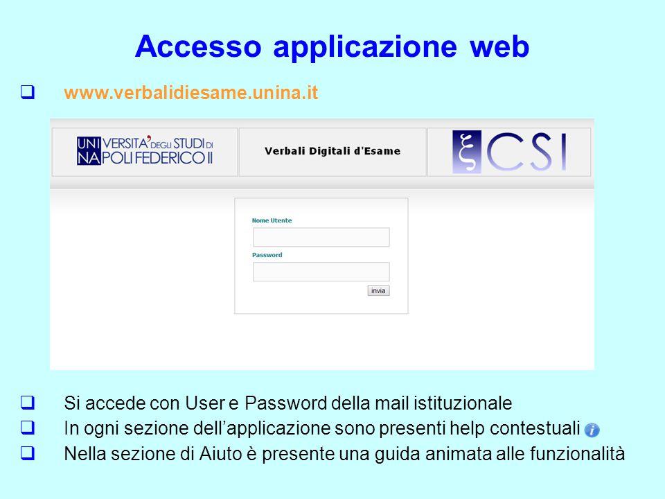 Accesso applicazione web  www.verbalidiesame.unina.it  Si accede con User e Password della mail istituzionale  In ogni sezione dell'applicazione so