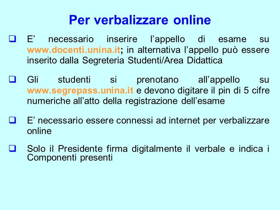Per verbalizzare online  E' necessario inserire l'appello di esame su www.docenti.unina.it; in alternativa l'appello può essere inserito dalla Segret