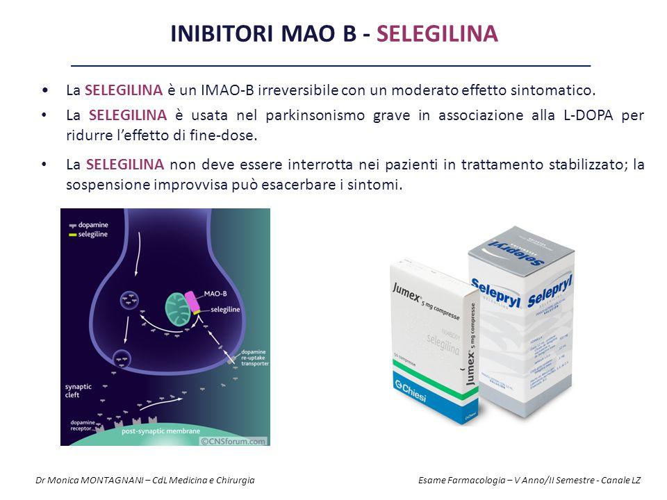 INIBITORI MAO B - SELEGILINA La SELEGILINA è un IMAO-B irreversibile con un moderato effetto sintomatico. La SELEGILINA è usata nel parkinsonismo grav