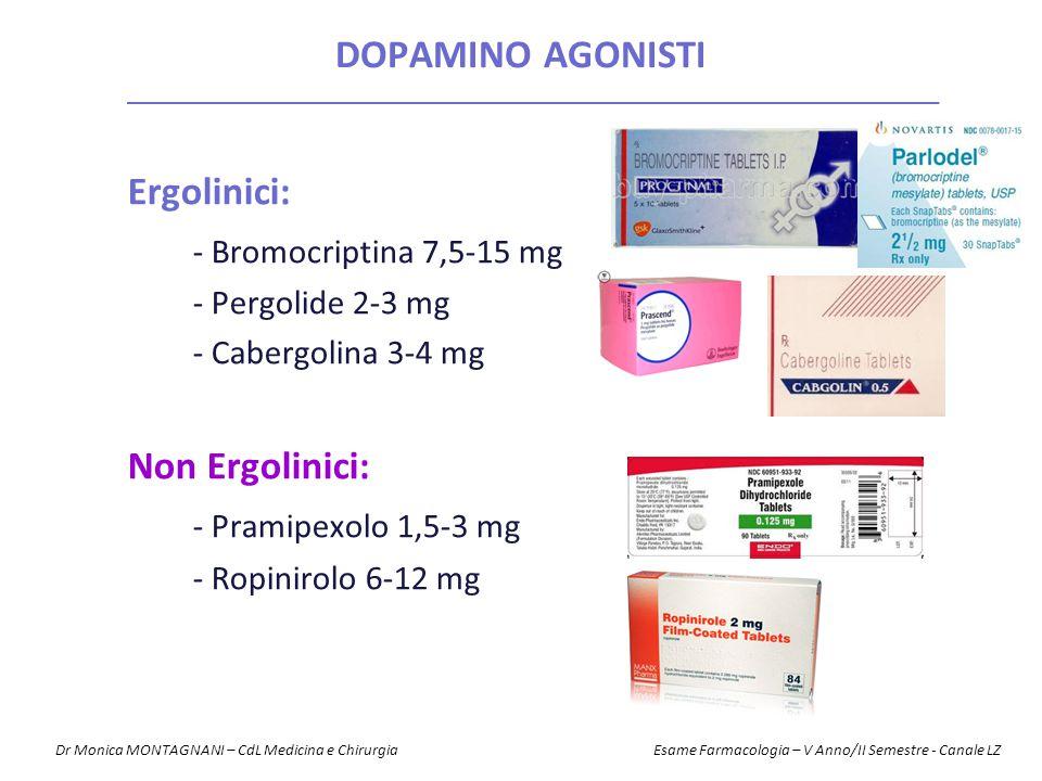 Ergolinici: - Bromocriptina 7,5-15 mg - Pergolide 2-3 mg - Cabergolina 3-4 mg Non Ergolinici: - Pramipexolo 1,5-3 mg - Ropinirolo 6-12 mg DOPAMINO AGO