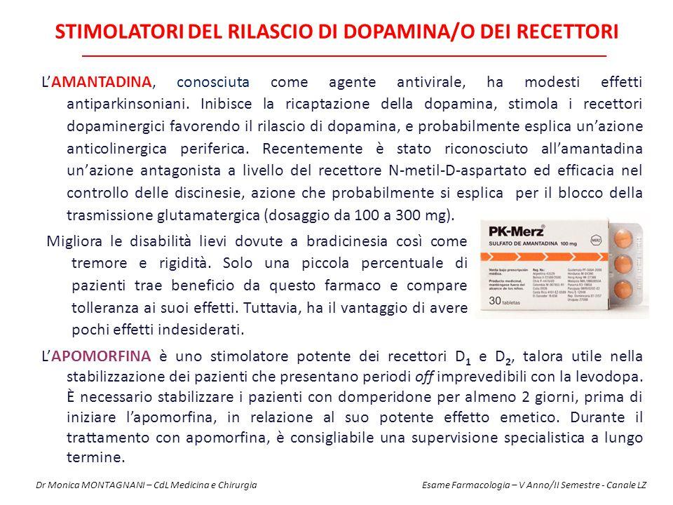 STIMOLATORI DEL RILASCIO DI DOPAMINA/O DEI RECETTORI Migliora le disabilità lievi dovute a bradicinesia così come tremore e rigidità. Solo una piccola