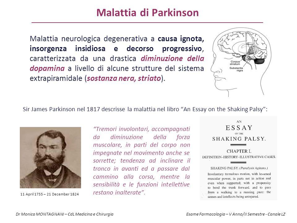 Malattia di Parkinson Malattia neurologica degenerativa a causa ignota, insorgenza insidiosa e decorso progressivo, caratterizzata da una drastica dim