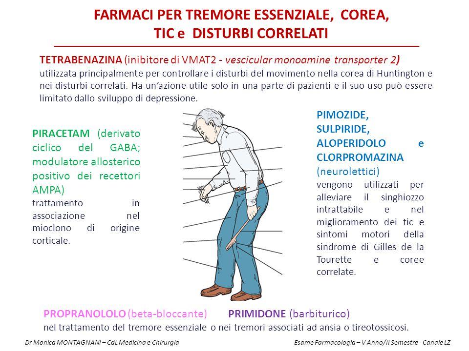 TETRABENAZINA (inibitore di VMAT2 - vescicular monoamine transporter 2) utilizzata principalmente per controllare i disturbi del movimento nella corea