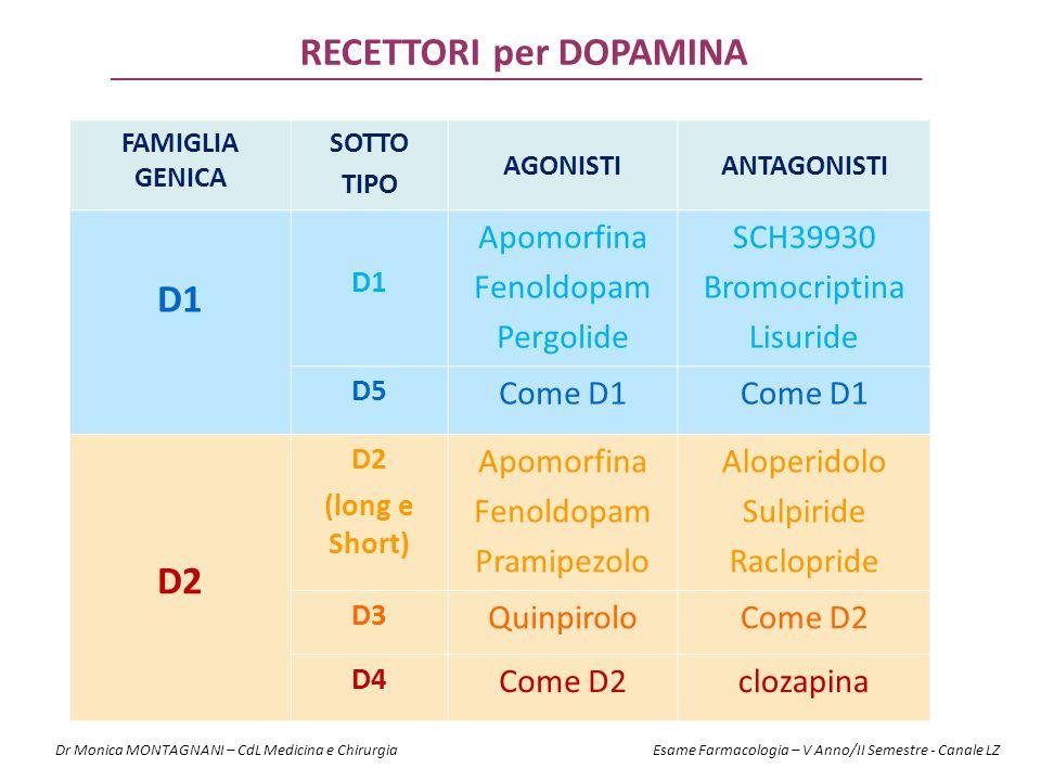RECETTORI per DOPAMINA FAMIGLIA GENICA SOTTO TIPO AGONISTIANTAGONISTI D1 Apomorfina Fenoldopam Pergolide SCH39930 Bromocriptina Lisuride D5 Come D1 D2