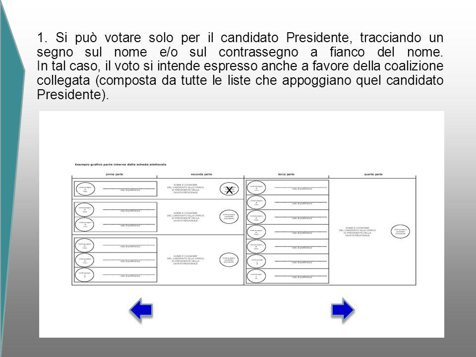 1. Si può votare solo per il candidato Presidente, tracciando un segno sul nome e/o sul contrassegno a fianco del nome. In tal caso, il voto si intend