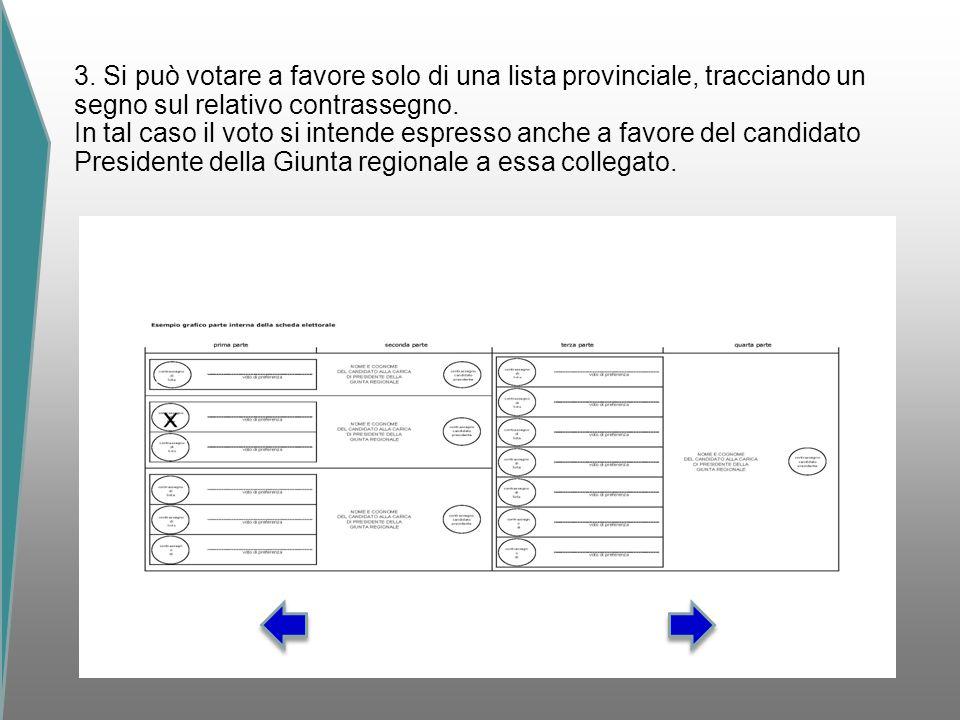 3. Si può votare a favore solo di una lista provinciale, tracciando un segno sul relativo contrassegno. In tal caso il voto si intende espresso anche