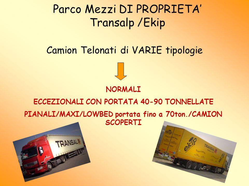 Parco Mezzi DI PROPRIETA' Transalp /Ekip Camion Telonati di VARIE tipologie NORMALI ECCEZIONALI CON PORTATA 40-90 TONNELLATE PIANALI/MAXI/LOWBED portata fino a 70ton./CAMION SCOPERTI