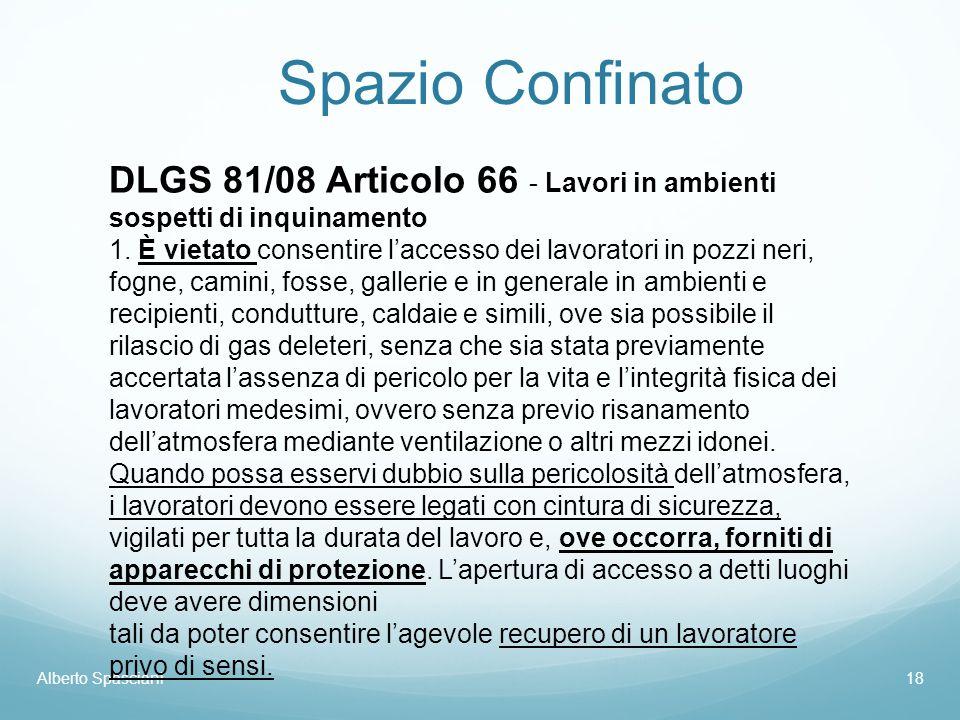 Spazio Confinato Alberto Spasciani18 DLGS 81/08 Articolo 66 - Lavori in ambienti sospetti di inquinamento 1. È vietato consentire l'accesso dei lavora