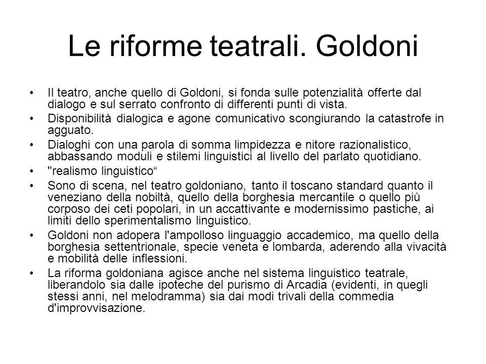 Le riforme teatrali. Goldoni Il teatro, anche quello di Goldoni, si fonda sulle potenzialità offerte dal dialogo e sul serrato confronto di differenti