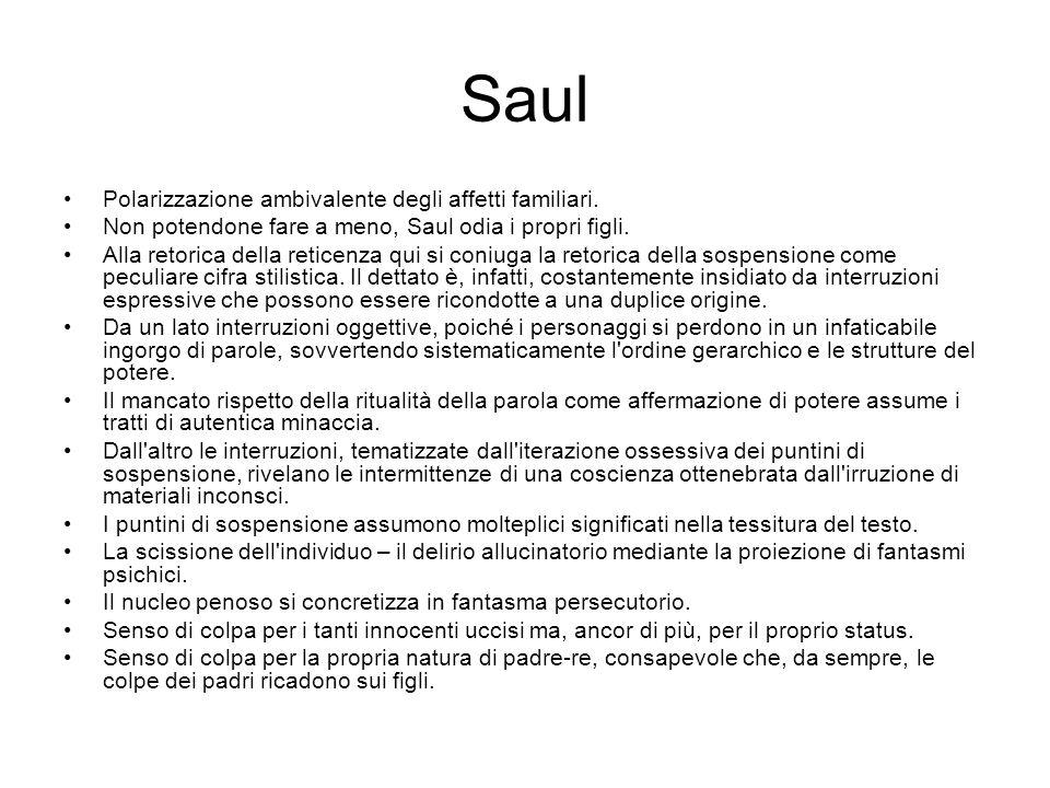 Saul Polarizzazione ambivalente degli affetti familiari. Non potendone fare a meno, Saul odia i propri figli. Alla retorica della reticenza qui si con