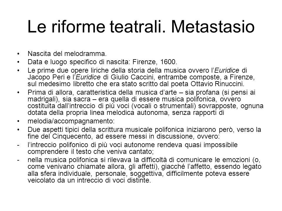 Le riforme teatrali. Metastasio Nascita del melodramma. Data e luogo specifico di nascita: Firenze, 1600. Le prime due opere liriche della storia dell