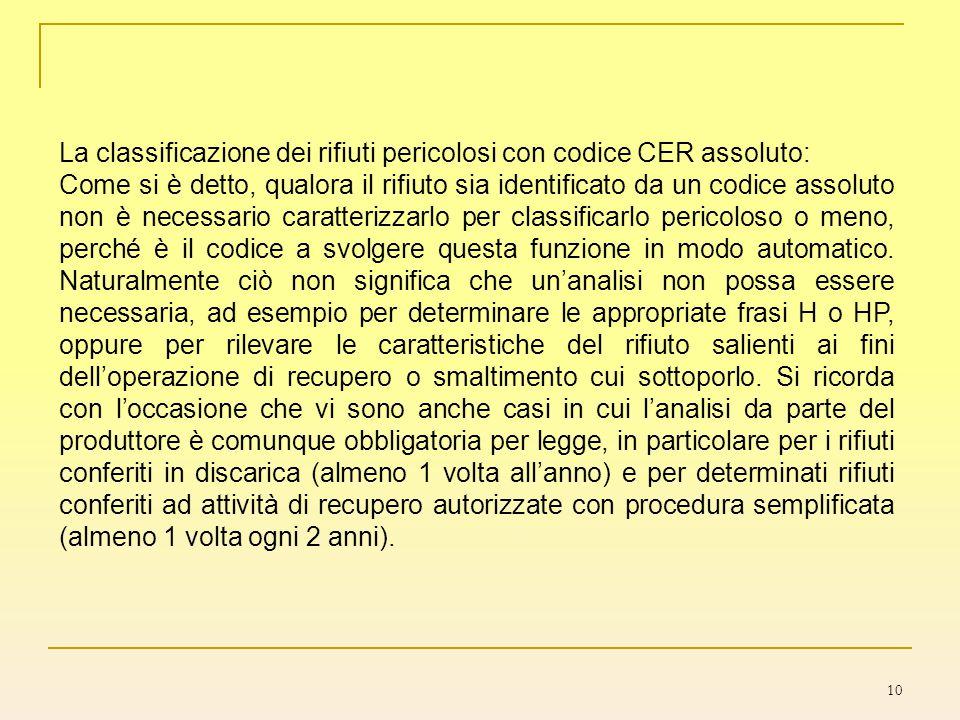10 La classificazione dei rifiuti pericolosi con codice CER assoluto: Come si è detto, qualora il rifiuto sia identificato da un codice assoluto non è