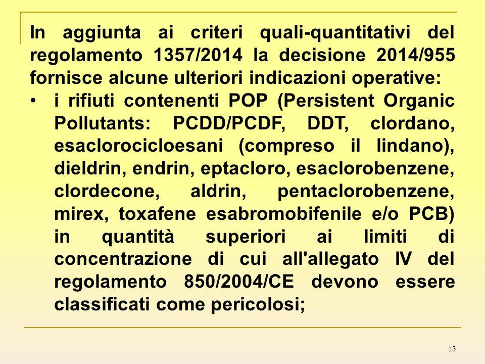 13 In aggiunta ai criteri quali-quantitativi del regolamento 1357/2014 la decisione 2014/955 fornisce alcune ulteriori indicazioni operative: i rifiut
