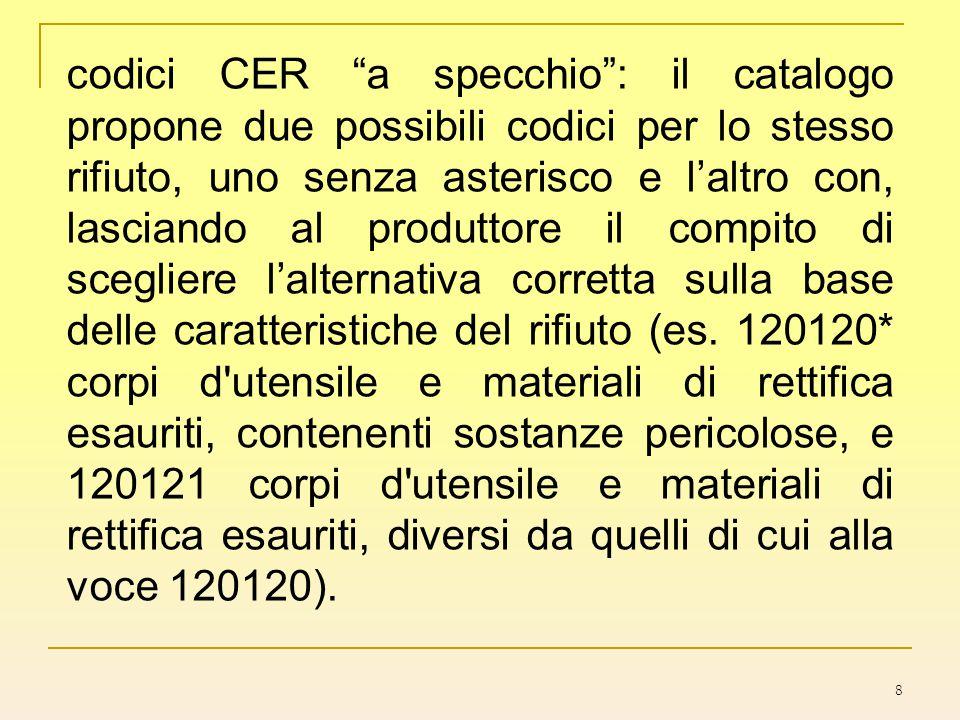 """8 codici CER """"a specchio"""": il catalogo propone due possibili codici per lo stesso rifiuto, uno senza asterisco e l'altro con, lasciando al produttore"""