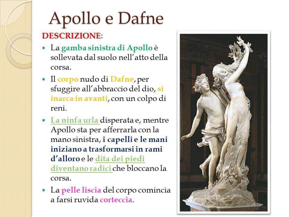 DESCRIZIONE DESCRIZIONE : La gamba sinistra di Apollo è sollevata dal suolo nell'atto della corsa.
