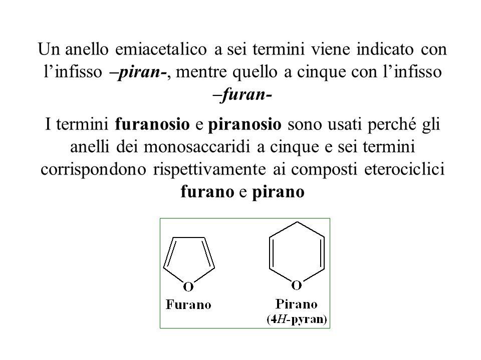 Un anello emiacetalico a sei termini viene indicato con l'infisso –piran-, mentre quello a cinque con l'infisso –furan- I termini furanosio e piranosi