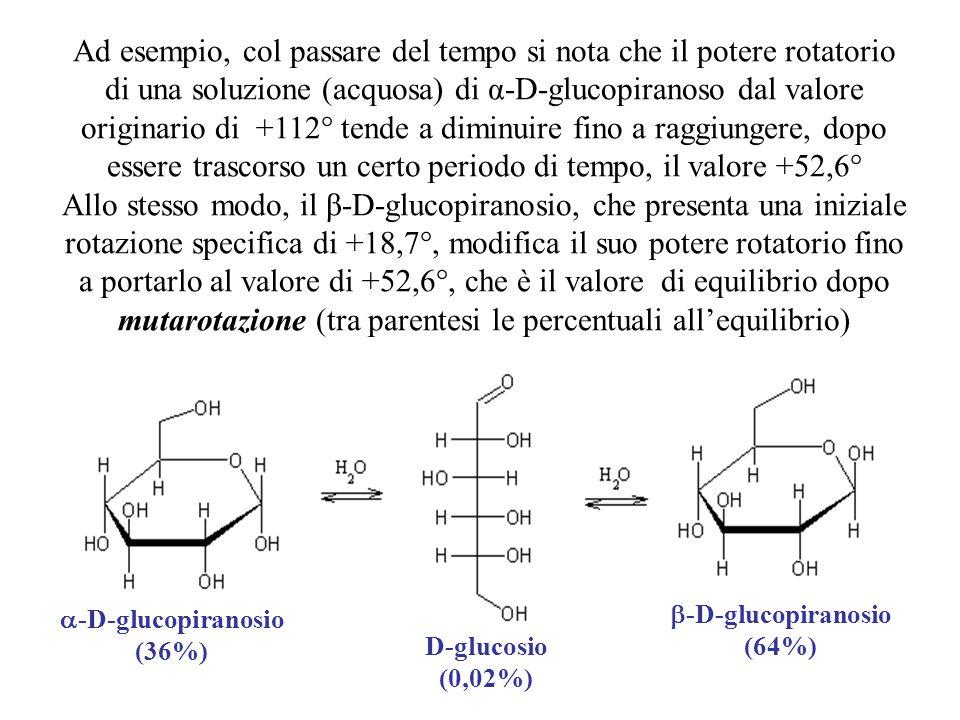 Ad esempio, col passare del tempo si nota che il potere rotatorio di una soluzione (acquosa) di α-D-glucopiranoso dal valore originario di +112° tende