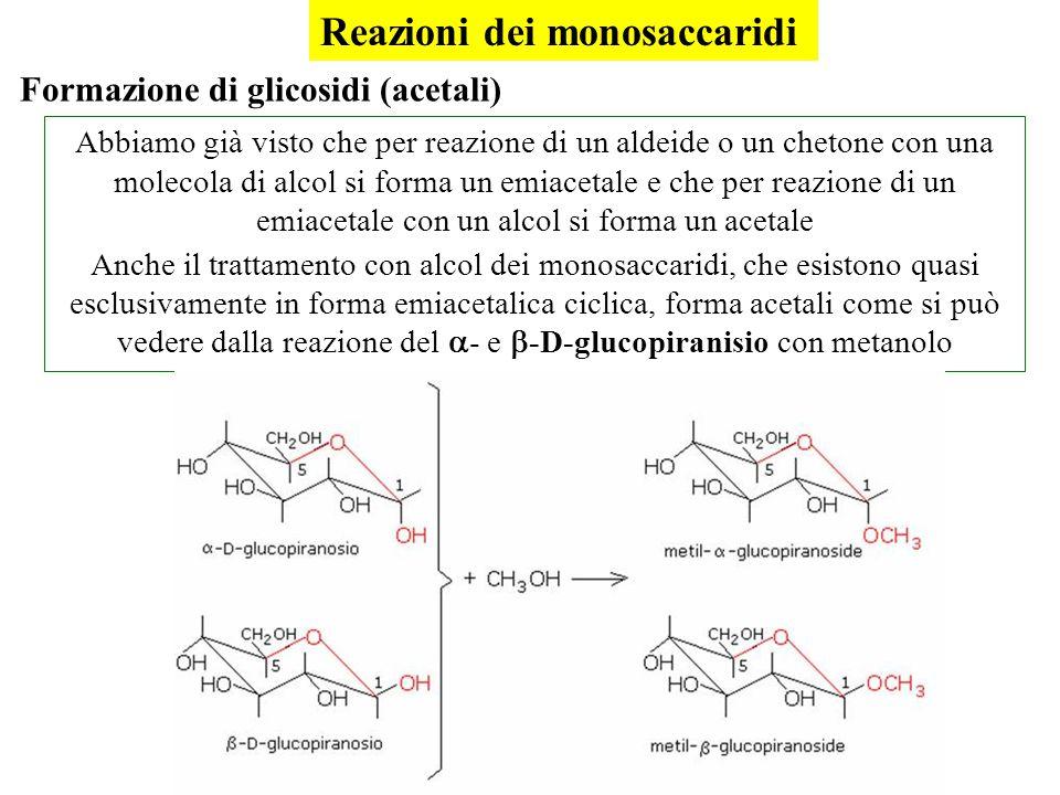 Abbiamo già visto che per reazione di un aldeide o un chetone con una molecola di alcol si forma un emiacetale e che per reazione di un emiacetale con